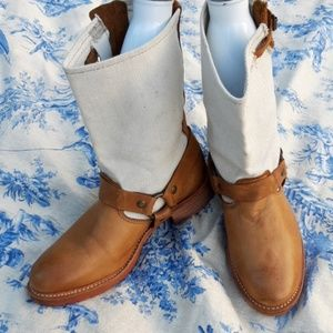 VINTAGE brand Women's leather canvas boots size 7